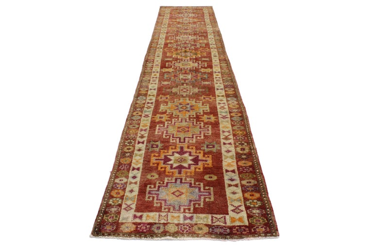 Vintage Turkish Oushak Runner with Mid-Century Modern Art Deco Style For Sale 5