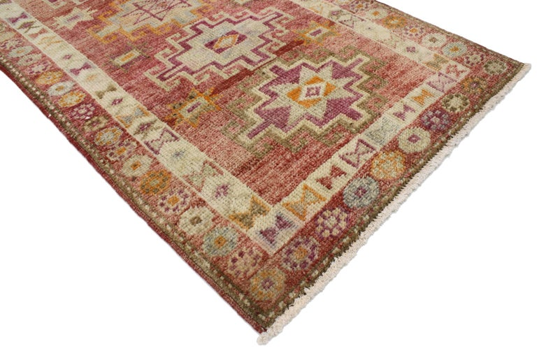 Vintage Turkish Oushak Runner with Mid-Century Modern Art Deco Style For Sale 4