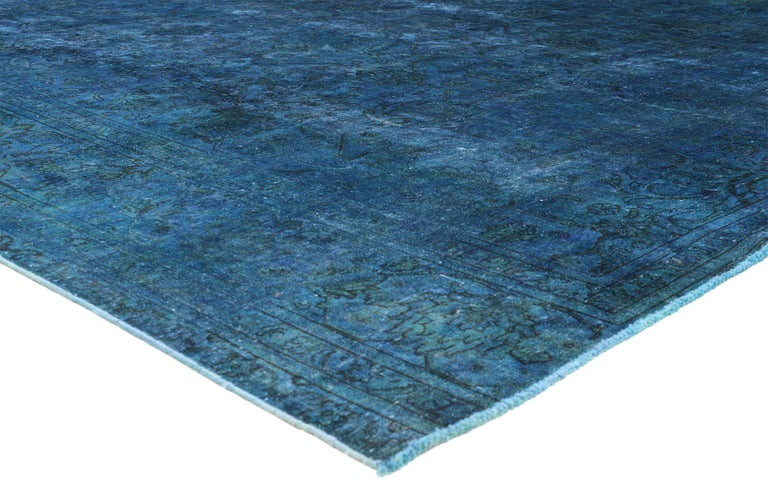 Distressed Blue Overdyed Vintage Persian Rug Large Square