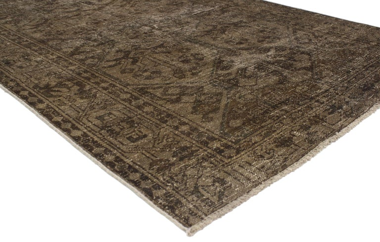 Hand Knotted Distressed Vintage Overdyed Brown Persian Rug With Modern Industrial Style For Sale