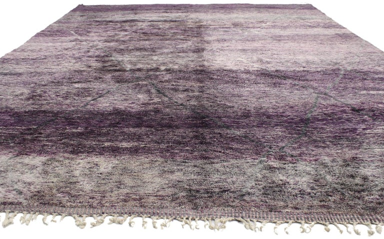 Hand-Knotted New Contemporary Purple Berber Moroccan Area Rug with Modern Style For Sale