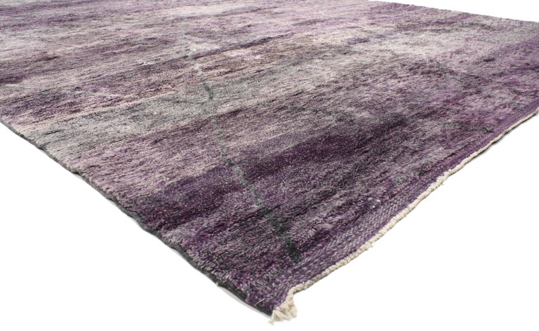 20524 New Contemporary Purple Berber Moroccan Area Rug with Modern Style 10'04 x 13'07. Highlighting a fashion-forward design with a punch of color, this striking Berber Moroccan rug with Modern style will give nearly any neutral room a vibrant