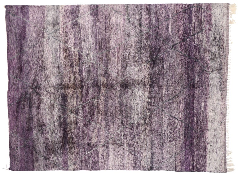 New Contemporary Purple Berber Moroccan Area Rug with Modern Style In New Condition For Sale In Dallas, TX