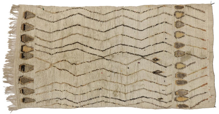 Hand-Knotted Vintage Berber Moroccan Rug, Neutral Color Moroccan Rug For Sale