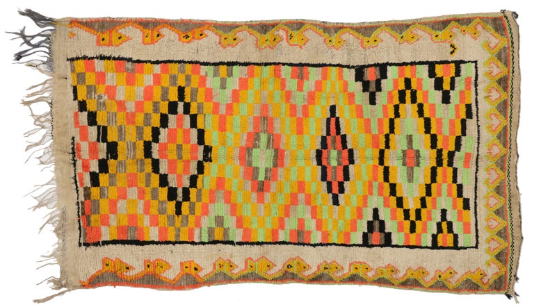 Hand-Knotted Bold Colored Vintage Berber Moroccan Rug With Cubism Style For Sale