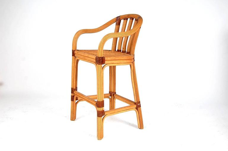 Set Of Four Rattan And Leather Bar Stools By Mcguire For