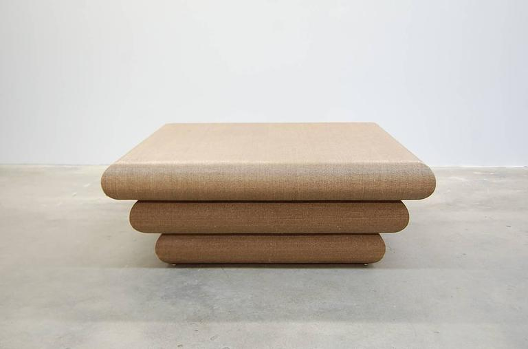 Large Square Linen Wrapped Coffee Table In The Manner Of Karl Springer 3