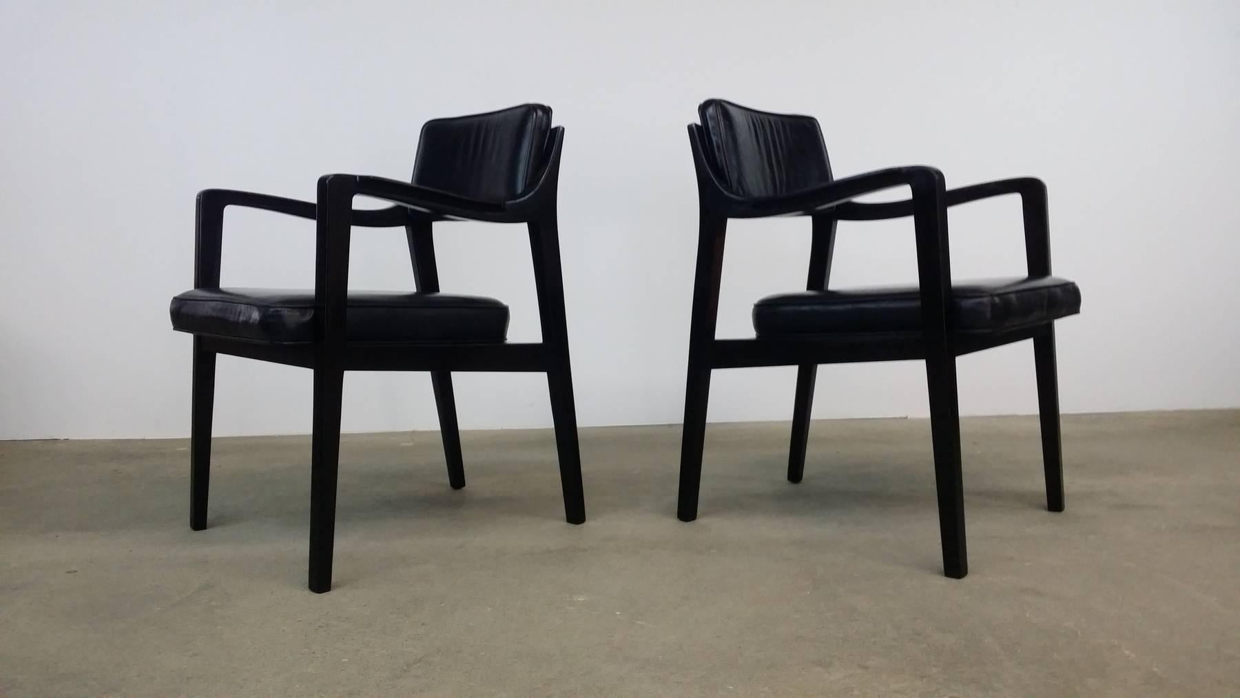 Pair Of Dunbar Chairs In Black Leather 2