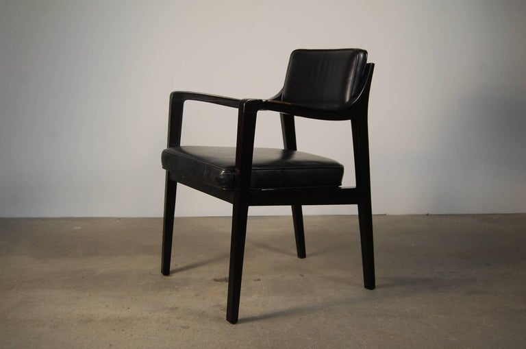 Mid-Century Modern Pair of Dunbar Chairs in Black Leather For Sale