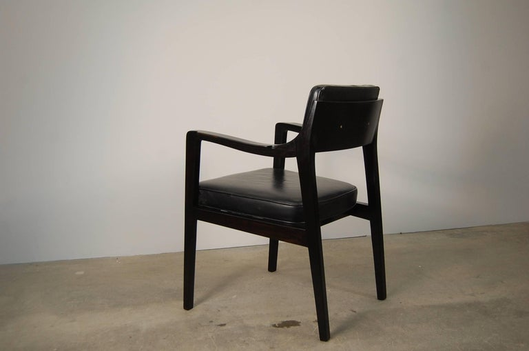 American Pair of Dunbar Chairs in Black Leather For Sale