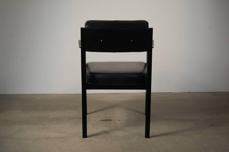 Pair of Dunbar Chairs in Black Leather For Sale 2