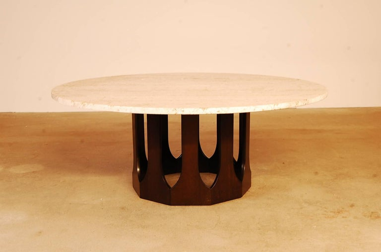 "Round Harvey Probber travertine top coffee table, with a dark mahogany base, circa 1962. The diameter of the top is 48"", and the table stands 19"" tall. Beautiful figuring in the travertine."