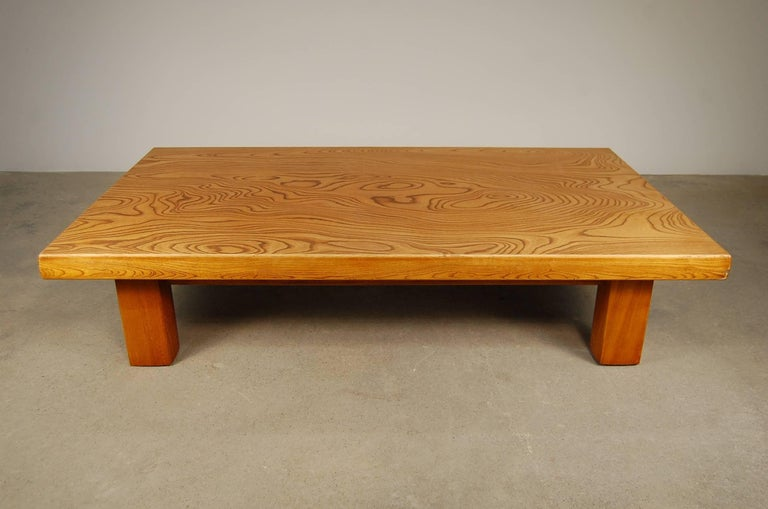 Japanese low table in Japanese elm. The figuring on the top is absolutely amazing, and the finish has a beautiful, slightly honey or amber coloration. The last image is to explain the shape of the legs, as they aren't entirely square. I think the