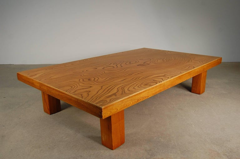 Japanese Low Table in Elm In Good Condition For Sale In Providence, RI