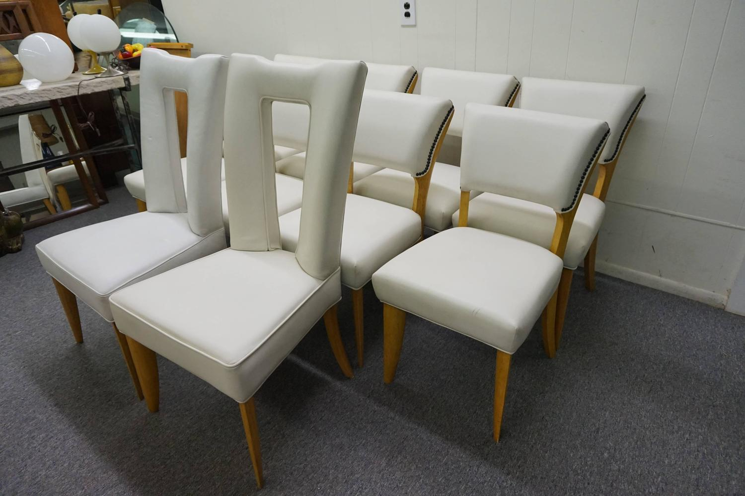 Amazing Set Ten Paul Laszlo Leather Dining Chairs Mid Century Modern For Sale