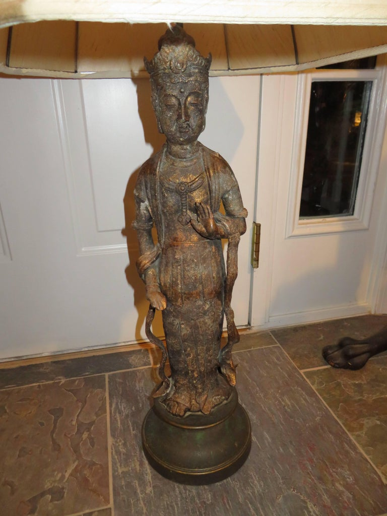Chinese Fantastic Pair of James Mont Style Asian Figural Buddha Lamps Mid-Century Modern For Sale