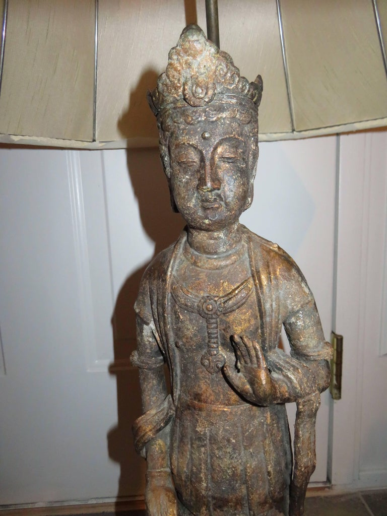 Metal Fantastic Pair of James Mont Style Asian Figural Buddha Lamps Mid-Century Modern For Sale