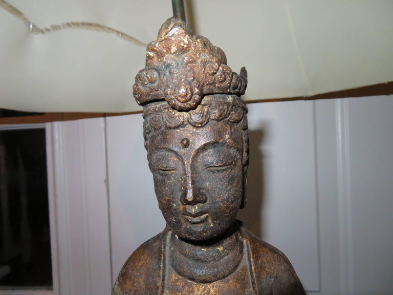 Mid-20th Century Fantastic Pair of James Mont Style Asian Figural Buddha Lamps Mid-Century Modern For Sale