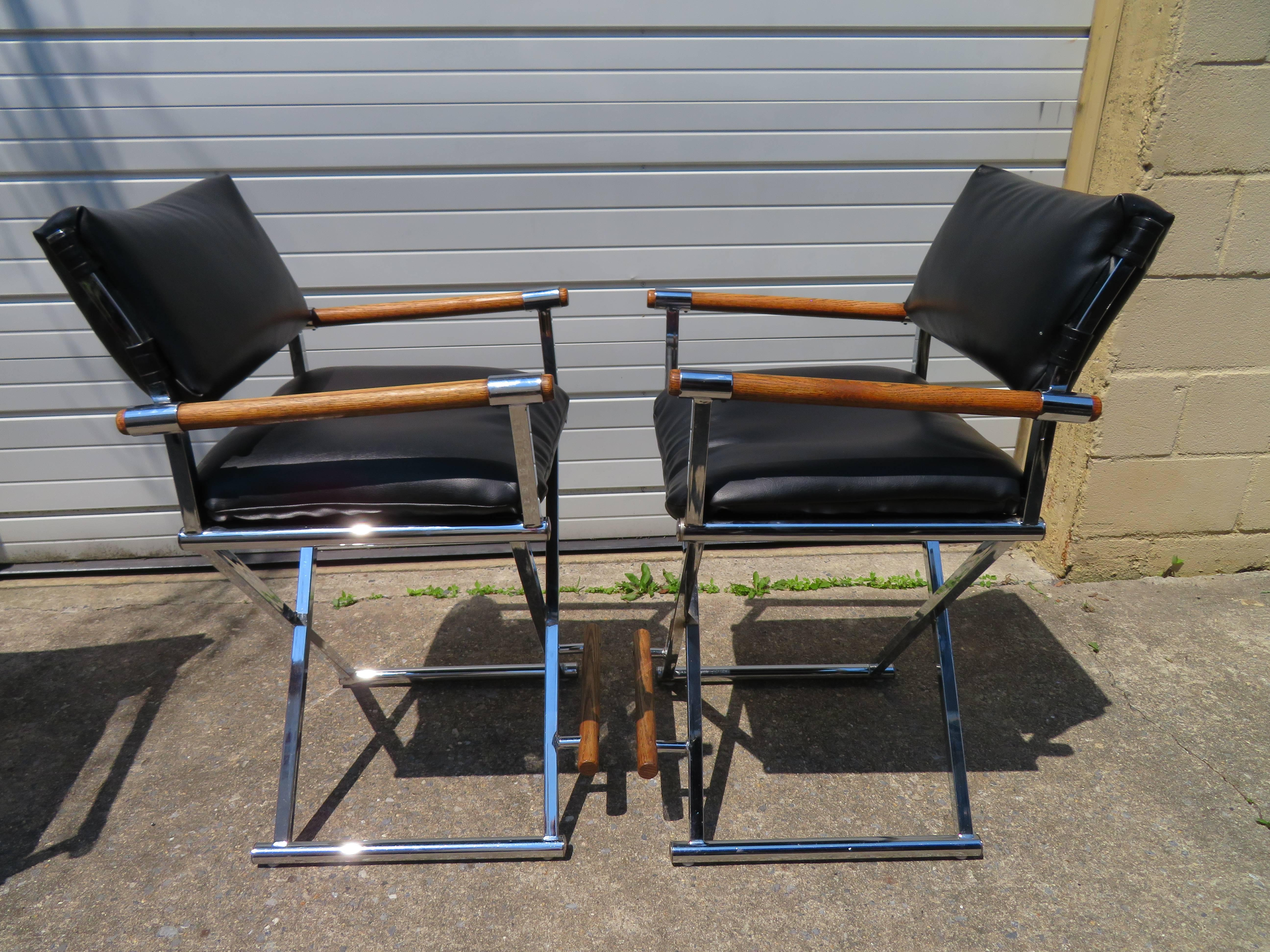 A vintage set of three directoru0027s chair bar stools in black faux leather with chrome X & Three Handsome Milo Baughman Style Chrome Directors Chair Bar Stools ...