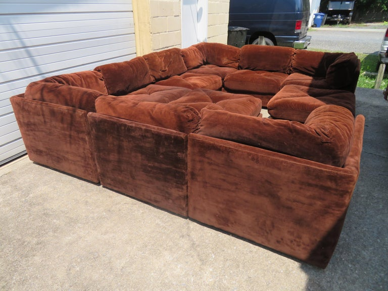 Huge ten-piece Milo Baughman style sectional sofa by Selig. We love this pit style cube sectional sofa and so will you-great for family rooms or man caves. This set includes four corner sections measuring 32