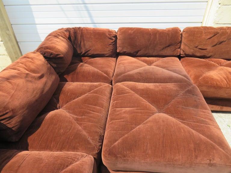 American Huge Ten-Piece Milo Baughman Style Selig Sectional Sofa Mid-Century Modern For Sale