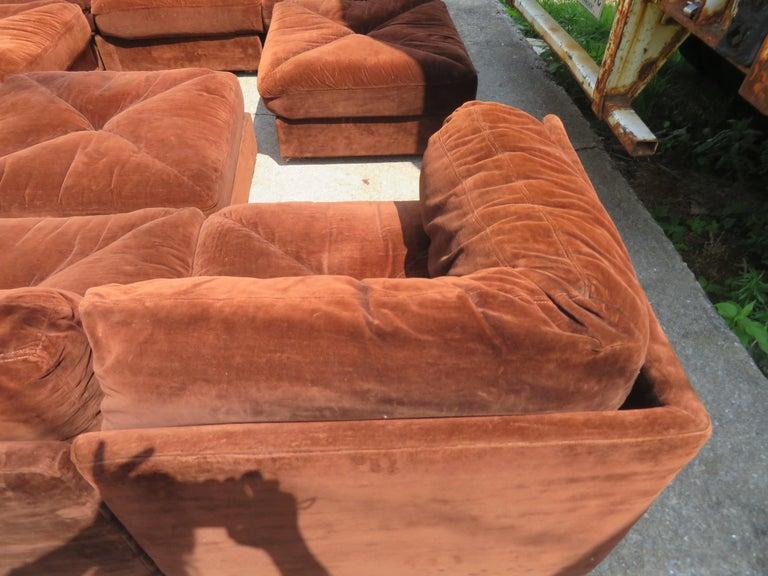 Mid-20th Century Huge Ten-Piece Milo Baughman Style Selig Sectional Sofa Mid-Century Modern For Sale