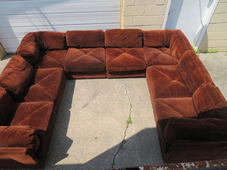 Huge Ten-Piece Milo Baughman Style Selig Sectional Sofa Mid-Century Modern For Sale 1