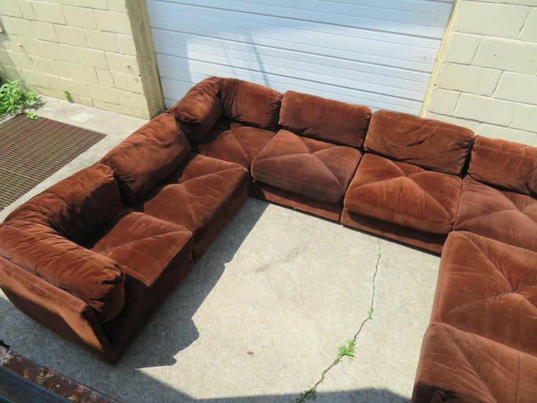 Huge Ten-Piece Milo Baughman Style Selig Sectional Sofa Mid-Century Modern For Sale 2