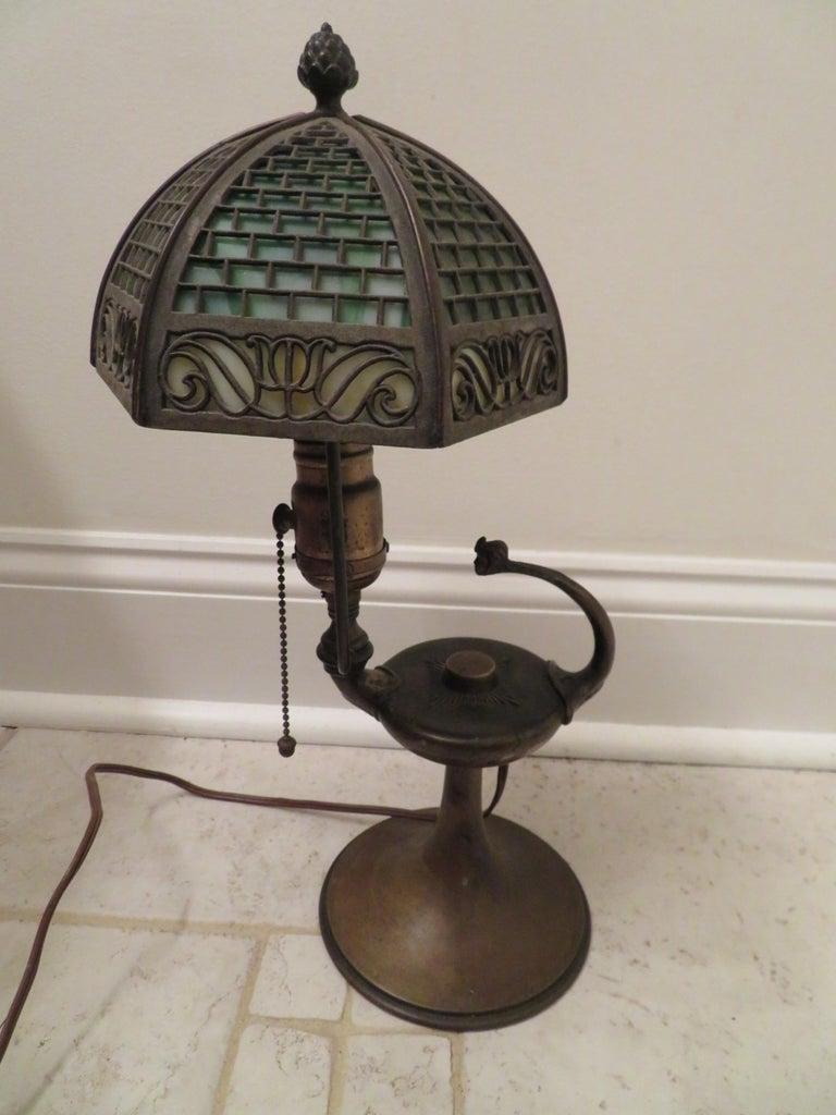 Arts & Crafts Bradley and Hubbard Brass Genie Slag Glass Lamp For Sale 6