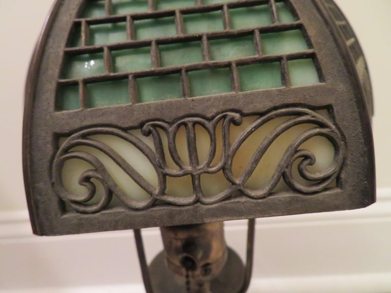 Arts & Crafts Bradley and Hubbard Brass Genie Slag Glass Lamp For Sale 1