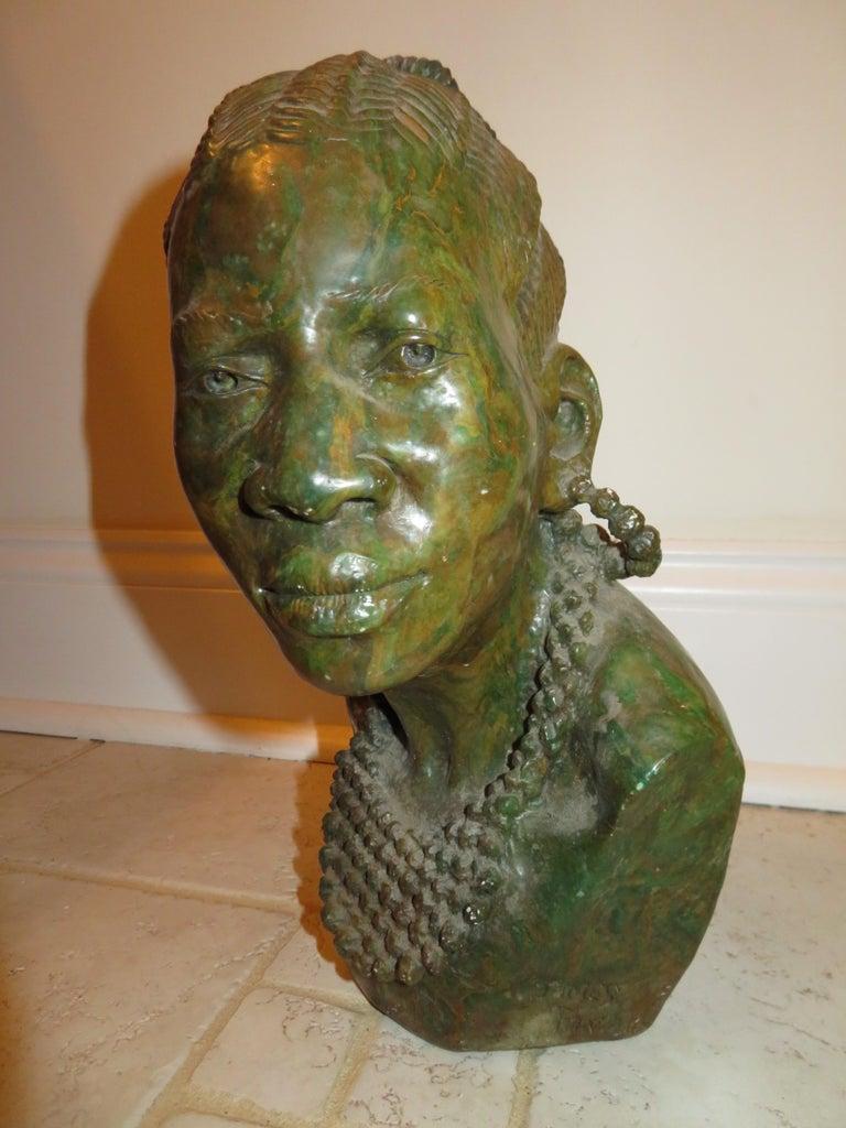 Mid-Century Modern Stunning Carved Verdite Sculpture James Tandi Africa Woman For Sale
