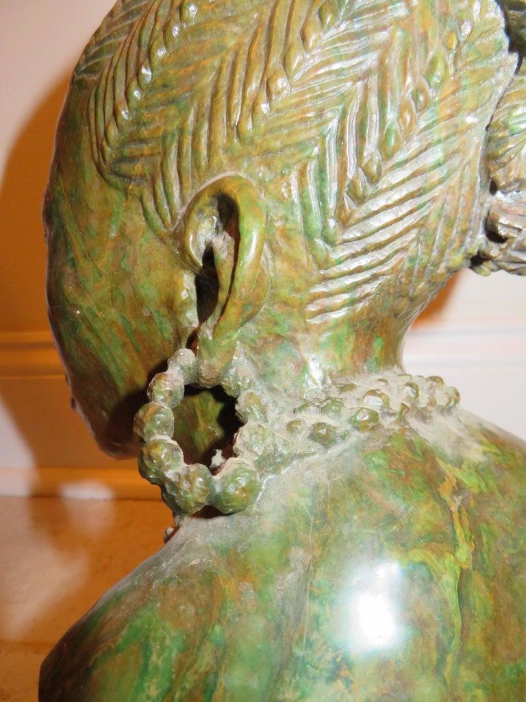 Zimbabwean Stunning Carved Verdite Sculpture James Tandi Africa Woman For Sale