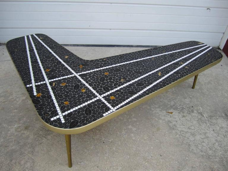 Gorgeous Boomerang Tile Top Mosaic Coffee Table MidCentury Modern - Mid century modern boomerang coffee table