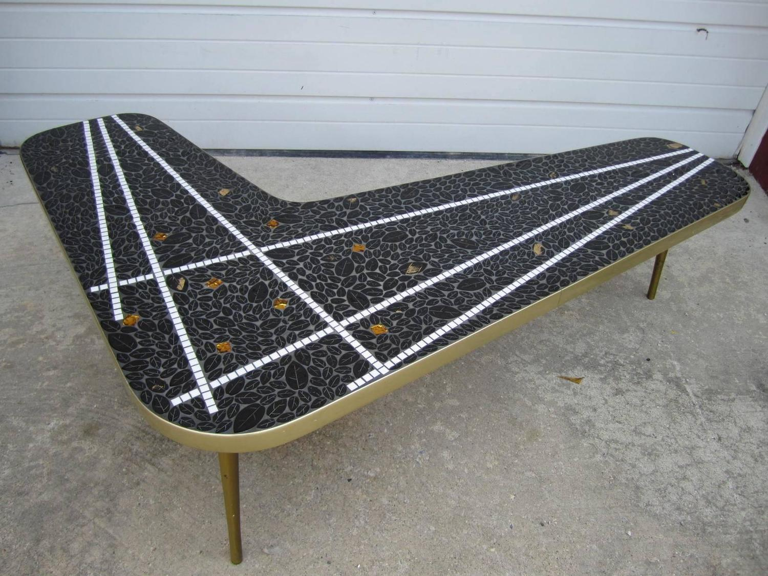 Gorgeous boomerang tile top mosaic coffee table mid for Tile top coffee table