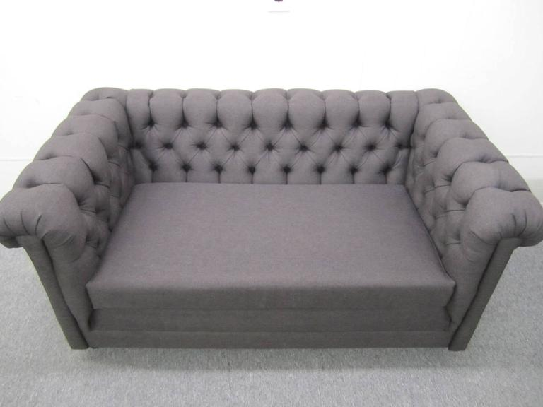 Stylish Pair of Probber Style Chesterfield Loveseat Sofas Mid-Century Modern In Good Condition For Sale In Pemberton, NJ