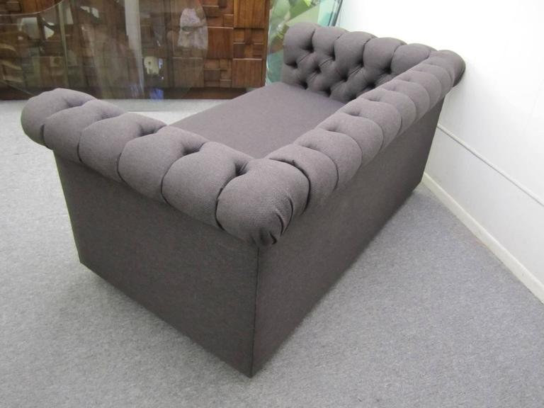 Stylish Pair of Probber Style Chesterfield Loveseat Sofas Mid-Century Modern For Sale 2