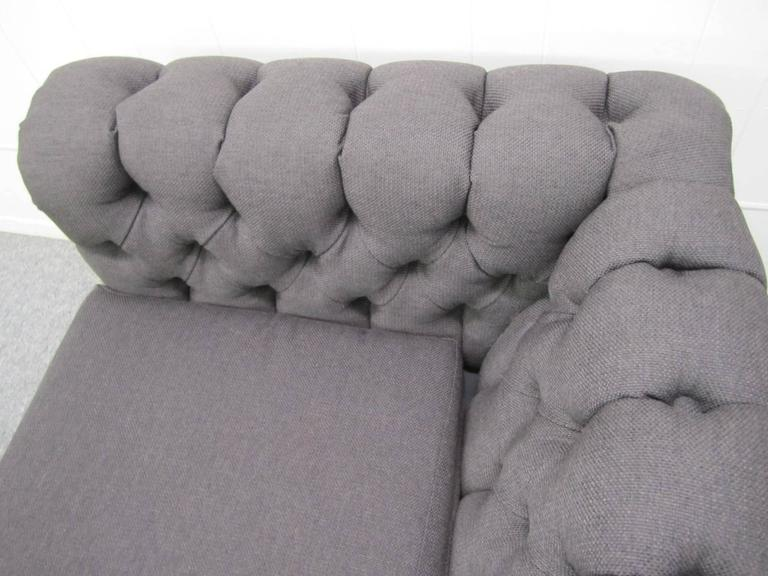 Stylish Pair of Probber Style Chesterfield Loveseat Sofas Mid-Century Modern For Sale 3