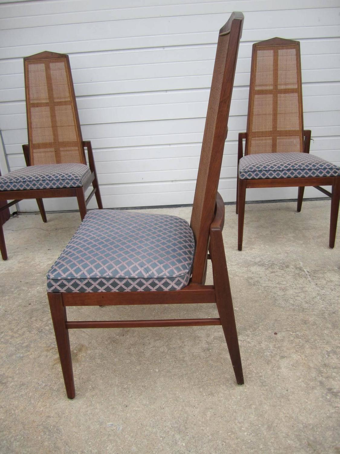 5 walnut foster and mcdavid cane back dining chairs mid for Modern walnut dining chairs
