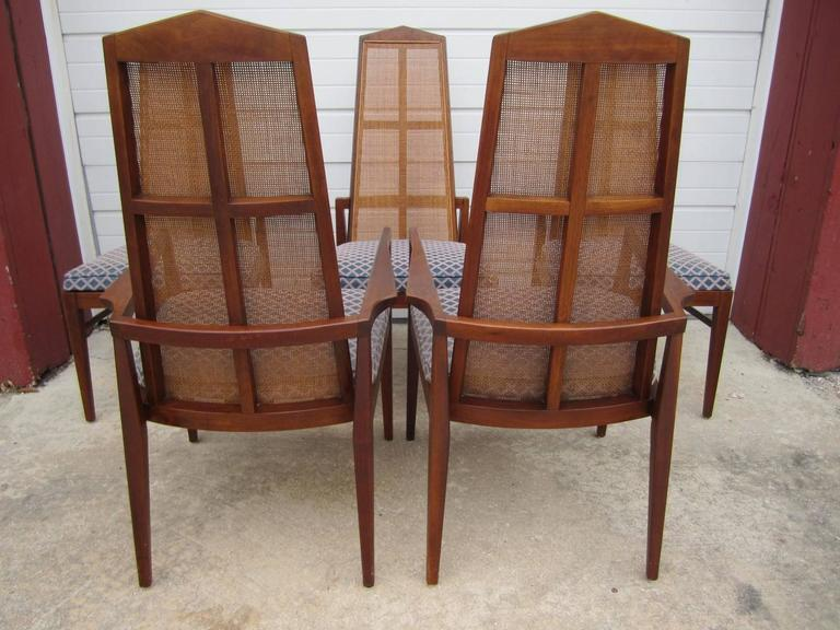 5 Walnut Foster and McDavid Cane Back Dining Chairs Mid