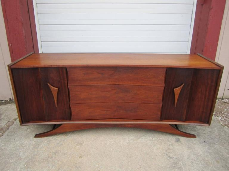 Credenza Mid Century Modern : Fabulous sculptural walnut credenza mid century modern for sale at