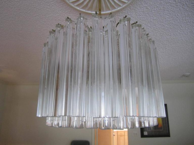 Large Oval Venini Camer Tiered Triedri Murano Chandelier In Excellent Condition For Sale In Medford, NJ