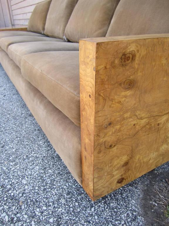 Gorgeous Three-Piece Milo Baughman Burled Olivewood Sofa Sectional For Sale 2