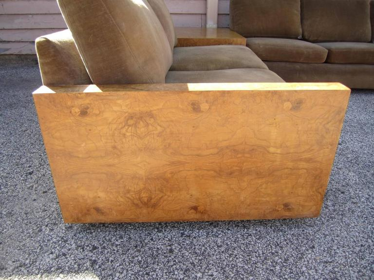 Mid-Century Modern Gorgeous Three-Piece Milo Baughman Burled Olivewood Sofa Sectional For Sale