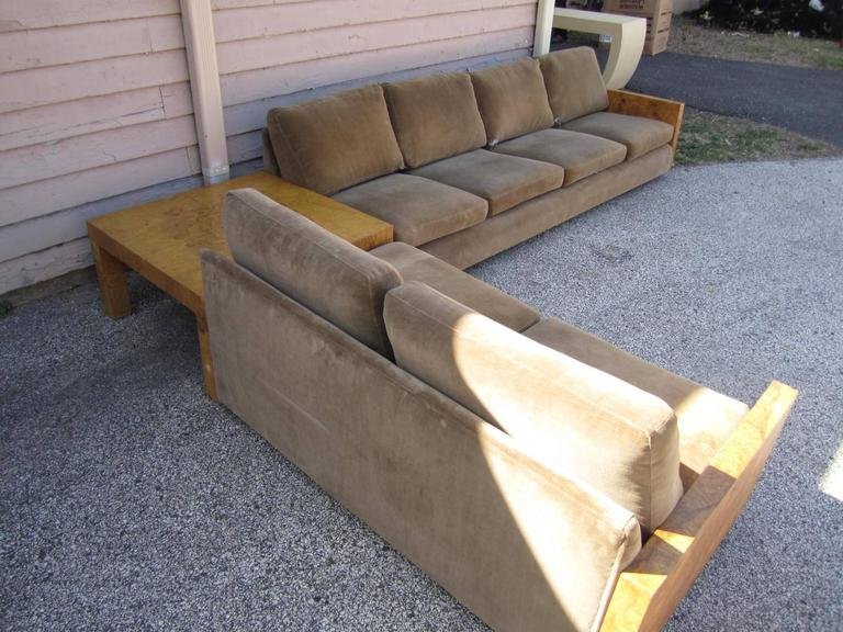 Gorgeous Three-Piece Milo Baughman Burled Olivewood Sofa Sectional In Good Condition For Sale In Medford, NJ