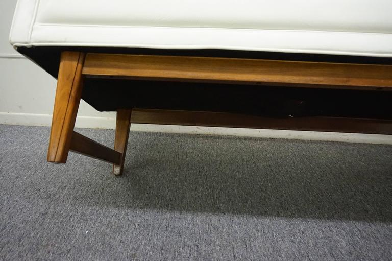 Upholstery Handsome Upholstered American Mid-century Walnut Bench For Sale