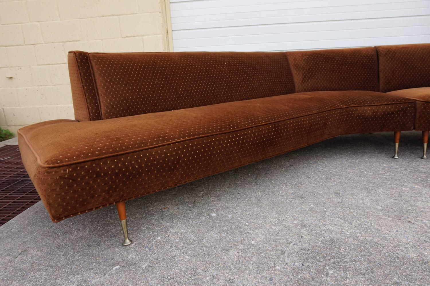 gorgeous harvey probber style two piece curved sofa sectional mid century modern for sale at 1stdibs. Black Bedroom Furniture Sets. Home Design Ideas