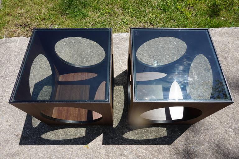 Cool Pair Of Lane Walnut Cube Side Tables Circle Cut Outs, Mid Century
