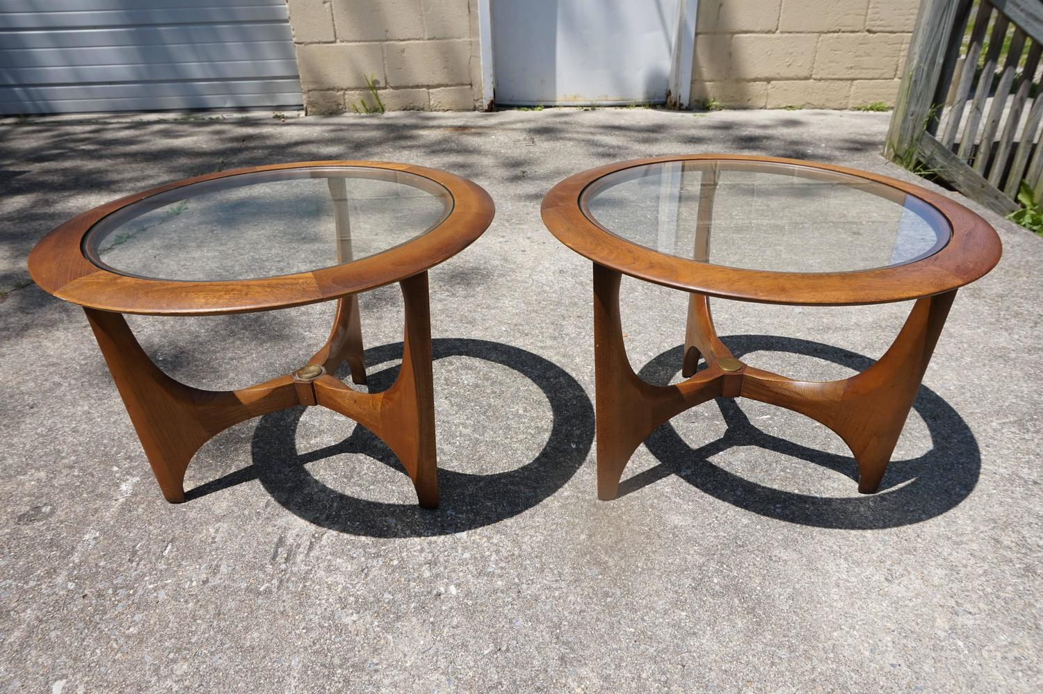 Mid Century Modern Round Side Table : Pair of Mid-Century Modern Walnut Glass Round Side Tables, Made by ...