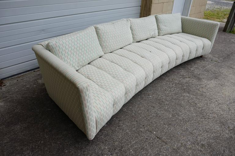 Magnificent erwin lambeth long low curved four seat sofa for Long couches for sale