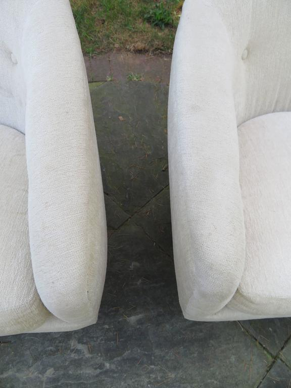 Fantastic Pair of Milo Baughman Tall Swivel Base Barrel Back Lounge Chairs For Sale 2